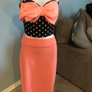 Peach pencil skirt (top listed separately)